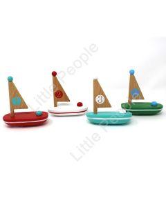 Jack Rabbit Creations - 4 Little Wooden Sailboats  (Blind Pick) (Blind Picking)