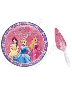 DISNEY  PRINCESS 2-Pc Set BIRTHDAY CAKE PLATE + SERVER  Princesses