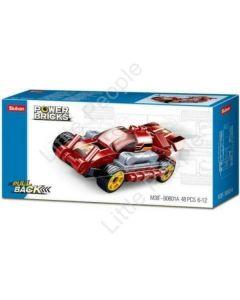 Sluban Compatible Building Blocks  Power Bricks: Fast Red Pull Back Car - 48pcs