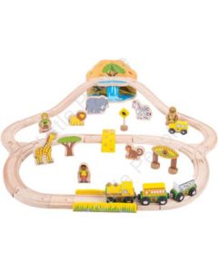 Bigjigs – Safari Train Set 38 Pieces