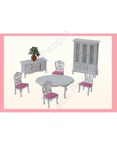 Dollhouse Furniture Dining Room Pink 1:12th Scale Wooden Set