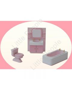 Dollhouse Bathroom Suite Pink 1:12th Scale