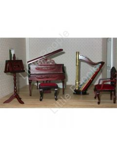 Dollhouse Hand Made Music Room 1:12th Scale Wooden Furniture Set retired