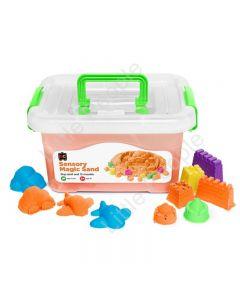 Sensory Magic Sand with Moulds 2kg Tub Orange Non Toxic