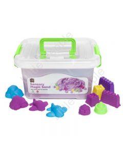 Sensory Magic Sand with Moulds 2kg Tub Purple Non Toxic