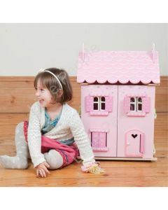 LE TOY VAN Pink Wooden Doll  LE TOY VAN pink doll house My First Dream House