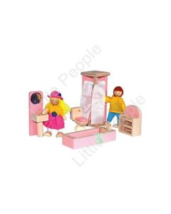 Painted Children Bathroom Wooden Kids Play Doll House Toy Setting
