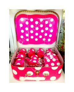 Just For Tea Pink & White Spotted 18 Piece Tin Pretend Play Tea Set